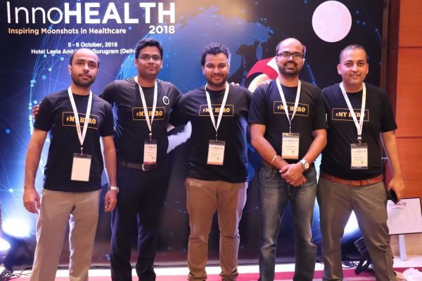(L-R)Areez Malik, Haritash Tamvada, Clarion Smith, Alok Chaudhary and Sachin Gaur from the ExperimentsWithSugar team at InnoHEALTH 2018